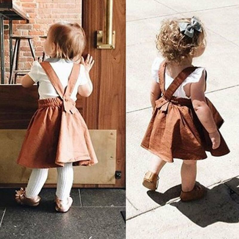 Toddler Infant Kid Baby Girl Suspender Skirt Overalls Dress Outfit Clothes 0-3Y