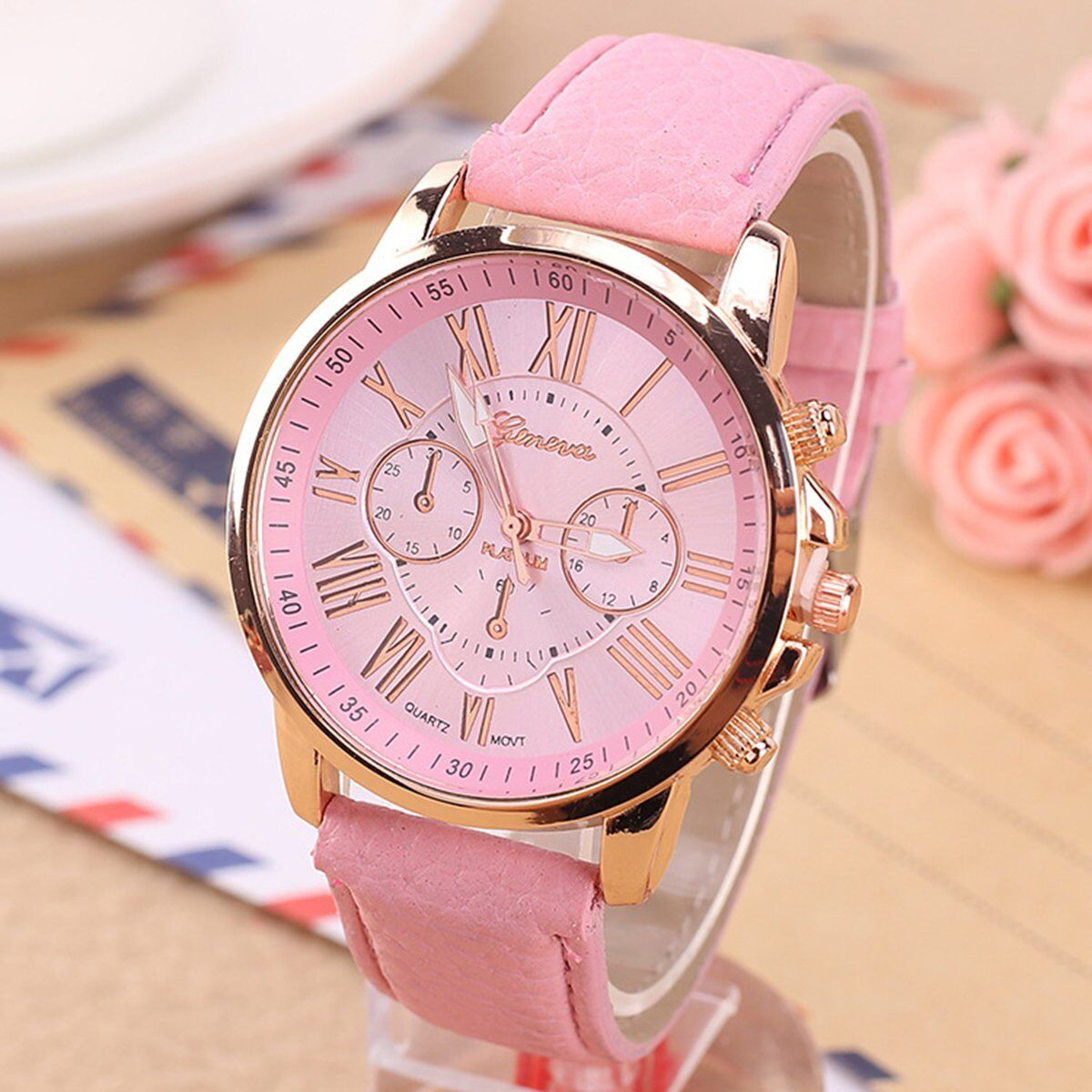 Fashion Women's Date Geneva Stainless Steel Leather Analog Quartz Wrist Watch