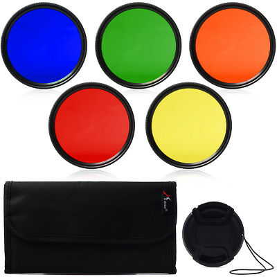 6 in 1 Color Filter Set Blue Yellow Orange Red Green + Cap for 52mm Lens LF68