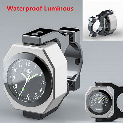 2in1 Waterproof Luminous Motorcycle Clock Time & Temperature Gauge Cool Styling