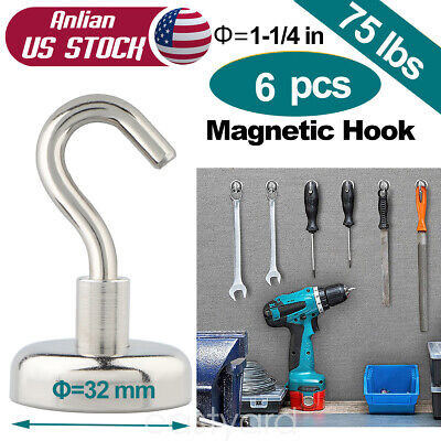 6PC 75 lbs Strong Magnetic Hooks Heavy Duty Neodymium magnet Hook 32 mm/1.26in