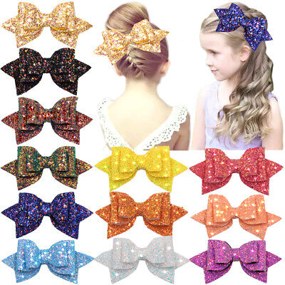 Boutique For Girls (12pcs 5inch Glitter Hair Bows Boutique Alligator Hair Clips For Teens)