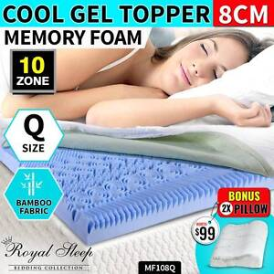 Royal Sleep – Q Size Cool Gel Mattress Topper Bamboo Fabric Cover Fairfield Fairfield Area Preview