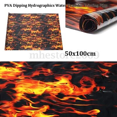 Pva Hydrographic Film Water Transfer Printing Film Hydro Dip Black Flame Fiber