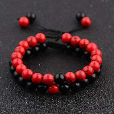 8MM Red Black Natural Stone His And Her Couple Braided Rope Bracelets Jewelry