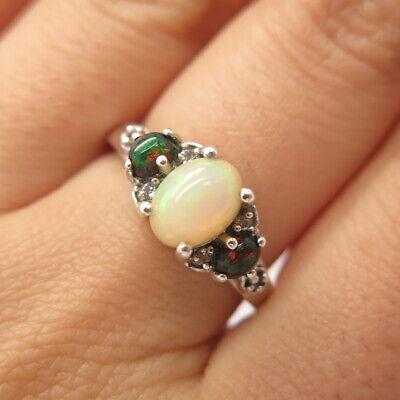 925 Sterling Silver Vintage Real White Topaz & Black Opal Gemstone Ring Size 8