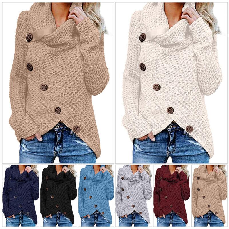 US Women Chunky Cowl Neck Asymmetric Hem Knitted Sweater Pullover Jumper Coat
