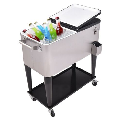 80 Quart Patio Bar Pub Tool Rolling Stainless Steel Ice Beve