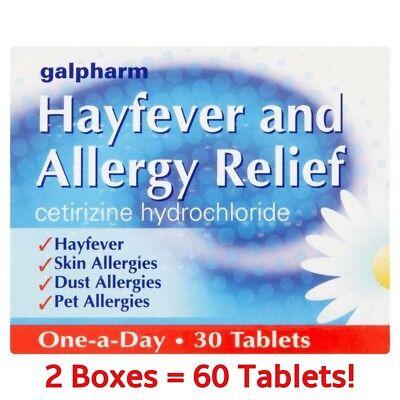 60 HAYFEVER & ALLERGY RELIEF TABLETS - CETIRIZINE HYDROCHLORIDE - SKIN - DUST