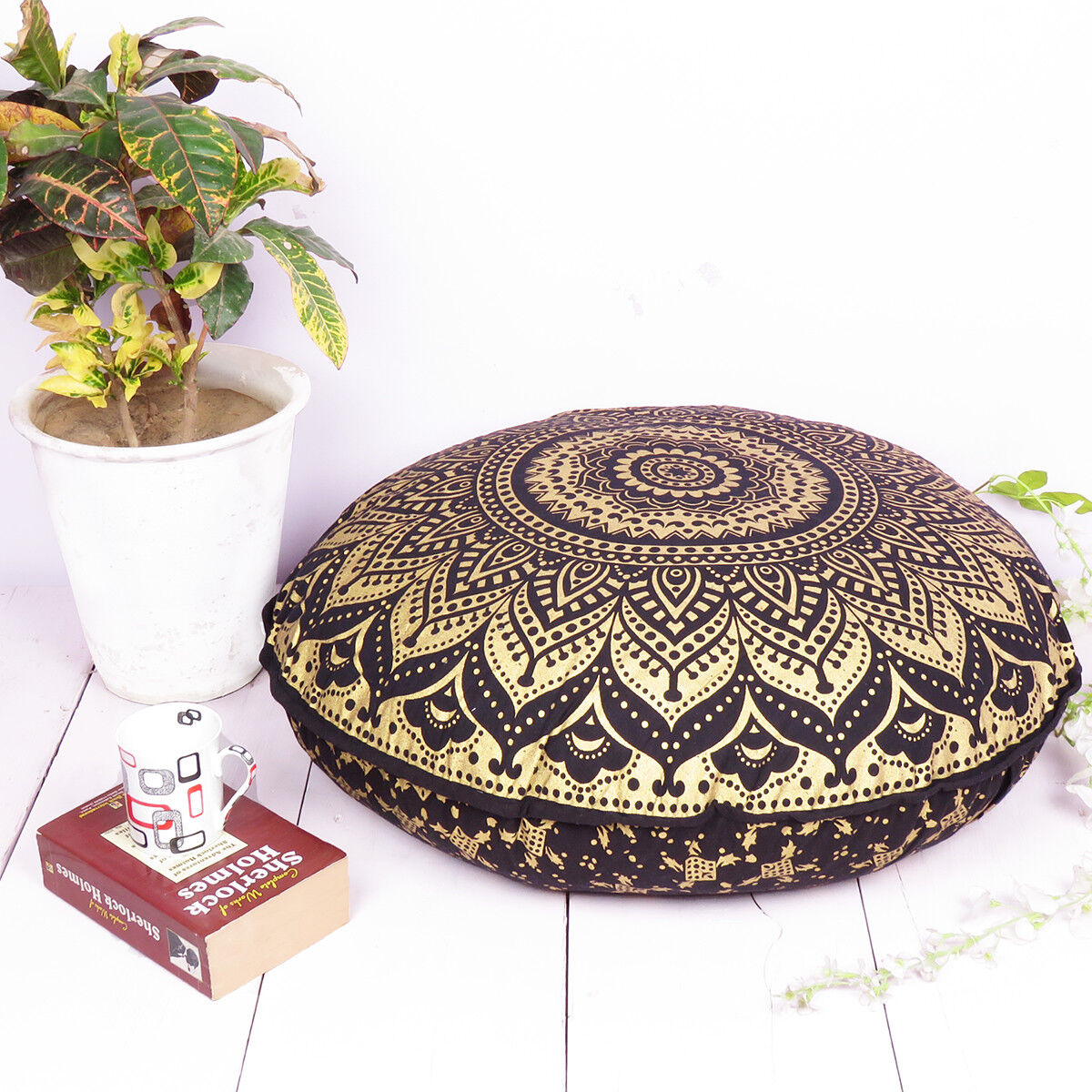 Black And Gold Mandala Floor Pillow Cover Bohemian Meditatio