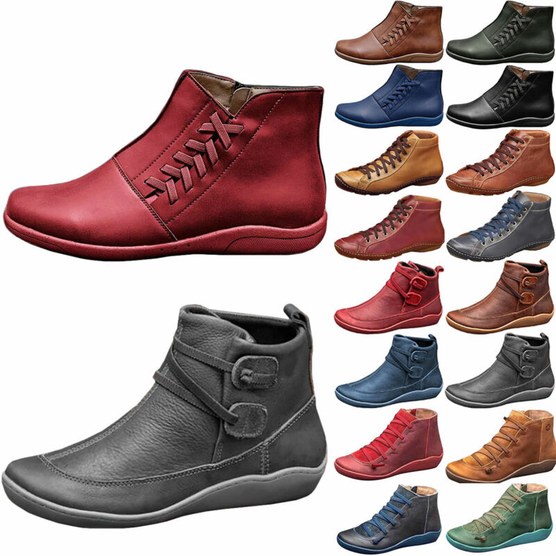 Womens Arch Support Ankle Boots Winter Waterproof Zip Wedge