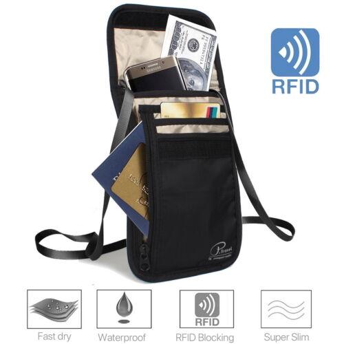 RFID Blocking Passport Card Holder Neck Stash Pouch Security