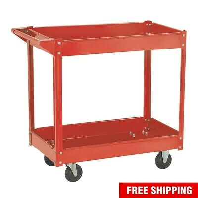 Rolling Heavy Duty Utility Metal Cart 2 Shelves Service Garage Push Hand Red New