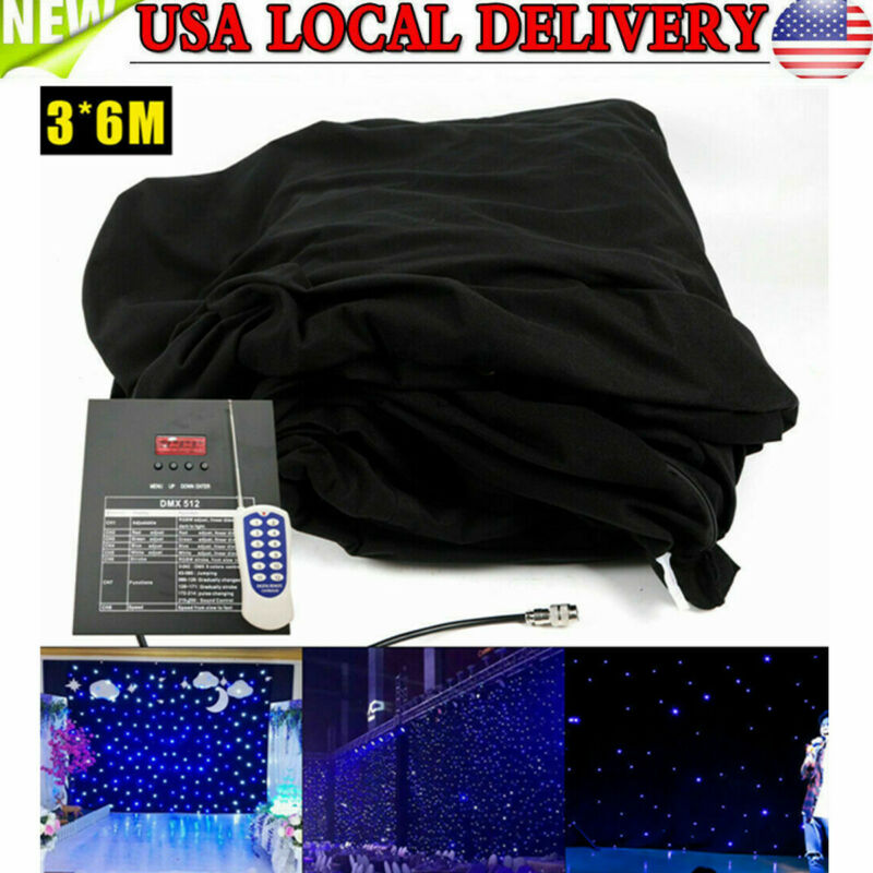 6X3M LED Stage Star Backdrop Wedding Party Curtain Velvet Backdrops +Controller
