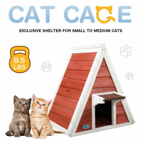 Red Wooden Cat House Weatherproof Pet Kitten Condo Shelter w/2 Doors Easy Access