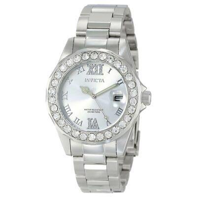 Invicta Women's Watch Pro Diver Crystal Bezel Silver Tone Dial SS Bracelet 15251