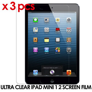 3 X iPad Mini 1 2 clear premium screen protector Film Cover