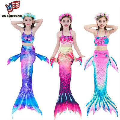 NEW Kids Girls 3Pcs Mermaid Tail Bikini Set Swimwear Swimmable Swimming Costumes - Swimwear Girls