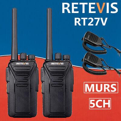 Retevis Walkie Talkie two way Radio MURS RT27V Long range VHF 5CH hands-free MIC