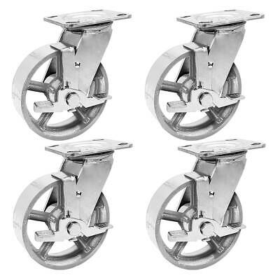 4 Pack 6 Vintage Caster Wheels Swivel Plate Grey Silver Iron Casters With Brake