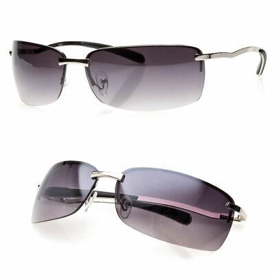 New Men Rectangular Rimless Designer Sunglasses Shades Eyewear Black Gold (Designer Rimless Eyewear)