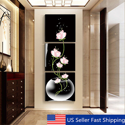 3Pcs Modern Abstract Flower Art Canvas Painting Print Wall Picture Home