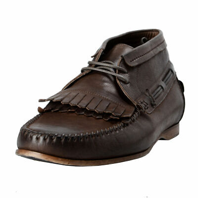 Dolce & Gabbana Men's Brown Leather Casual Oxfords Boat Shoes Sz 7 9 11 12