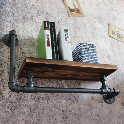 Industrial Vintage Retro Shelf Wall Mount Iron Pipe Wooden Storage Display Rack