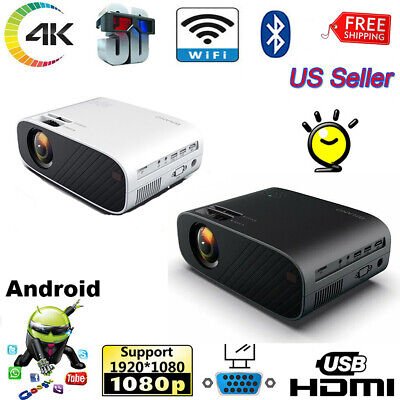 4K 1080P HD Projector WiFi 3D LED Mini Video Theatre Home Cinema  HDMI Android