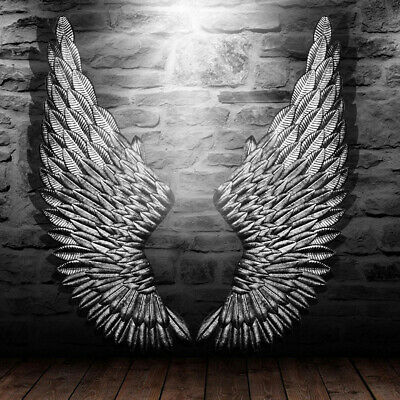 Angel Wings Wall (40'' Large Antique Silver Angel Wings Chic Wall Mounted Hanging Art Home)