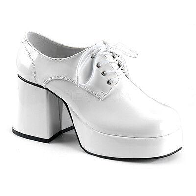 White Pimp Shoes (White Platform 70s Disco Dancer Pimp Costume Shoes Mens 12 13 14 Funtasma)