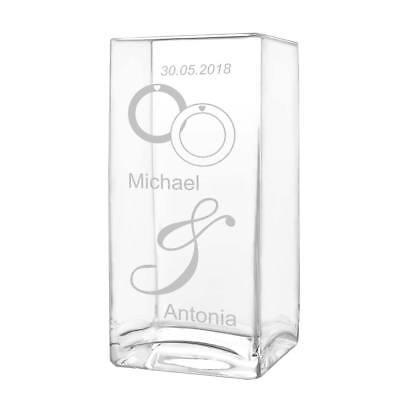 Große Rechteckige Glas (große Blumenvase Vase inkl. Gravur Motiv verschlungene Ringe)