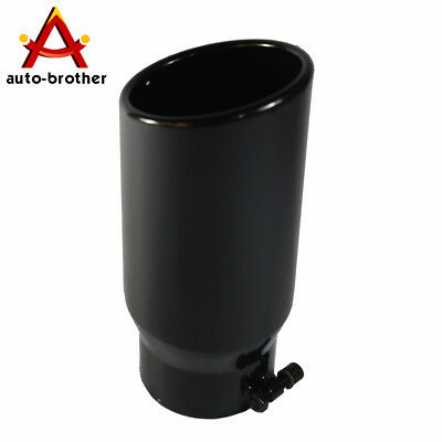 "Roll End Exhaust Tip 4/""Inlet 5/""Outlet 12/"" Length Stainless Steel Black"