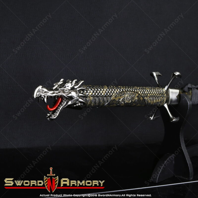 Torch Flying Dragon Fantasy Samurai Katana Sword Gold Accent with Four Claws