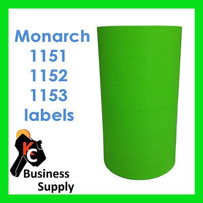 Monarch Paxar 1151 1152 1153 Green Labels - 1 Sleeve 6 Rolls 1175 1176 1177