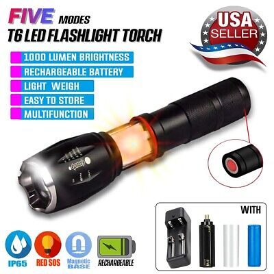 Bright Camping LED Police Flashlight Tactical Torch+Charger+Rechargeable Battery