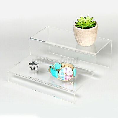 2 Tier Step Acrylic Display Riser Stand Clear Jewelry Retail Counter Showcase