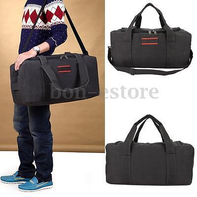 Men Military Canvas Gym Duffle Travel Shoulder Bag Outdoor Luggage Handbag Black