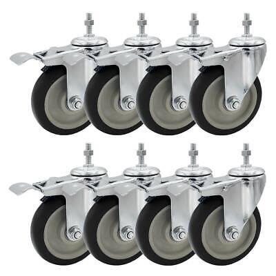 8 Pack 5 Inch Stem Caster Swivel W Front Brake Black Pu Heavy Duty Caster Wheel