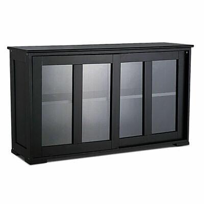 2-Layer Sideboard Cupboard Storage Cabinet w/ Sliding Door for Pantry Kitchen