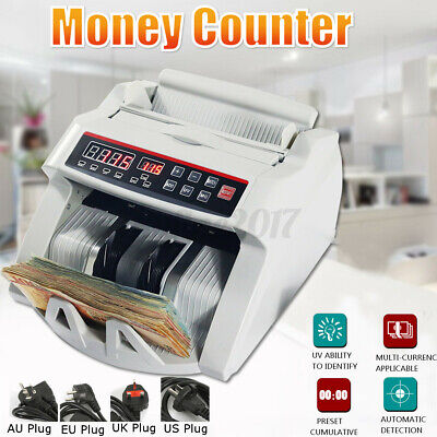Money Bill Counter Counting Machine Detector Uv Mg Cash Bank W Lcd Dishplay