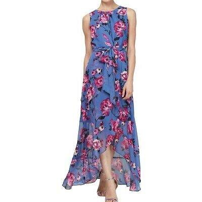 SLNY NEW Women's Lilac Multi Floral Belted High-low Maxi Dress 4 -