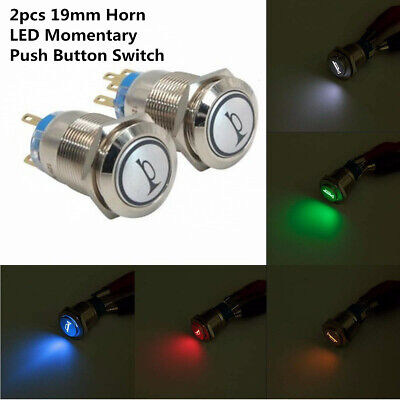 2pcs 12v 19mm Momentary Metal Push Button Led Light Air Horn Switch For Car Boat