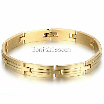 Polished Gold Tone Stainless Steel Link Men's Womens Bracelet Bangle Fashion New - Gold Bangle