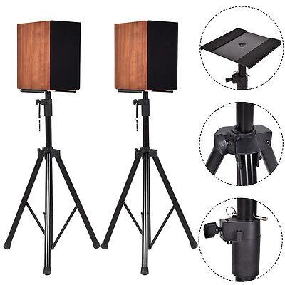 Pair Heavy Duty Adjustable Studio Monitor Speaker Stands Tripod Concert Band DJ
