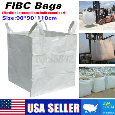 3300LBS 35x35x43 Heavy Duty FIBC Bulk Super Ton Bag Duffle Top Flat Bottom Sacks