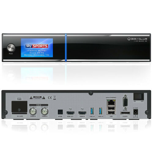 Gigablue HD Quad 4K UHD Linux LAN 2 x DVB-S2 FBC Twin Sat Receiver HDTV schwarz