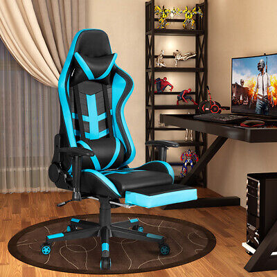 Massage Gaming Chair Reclining Racing Chair High Back W Footrest Office Home