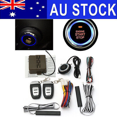 AU PKE Keyless Entry Car Alarm System Remote Start & Push Button Start Engine