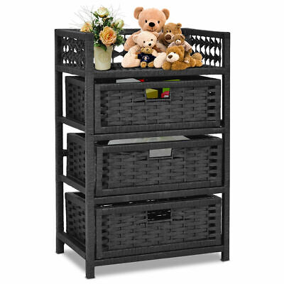 3 Drawer Storage Unit Tower Shelf Wicker Baskets Storage Chest Rack - Wicker Storage Baskets